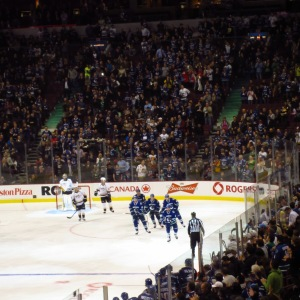 The first of 7 Canuck goals! The atmosphere was absolutely electric...