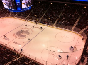 Rink wide view of some early first period action!