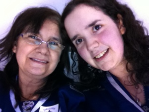 Two of the biggest #canuckleheads there are & we were more than ready for this game! #MotherDaughter